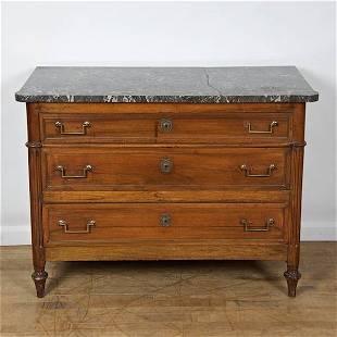 Louis XVI marble top mahogany commode