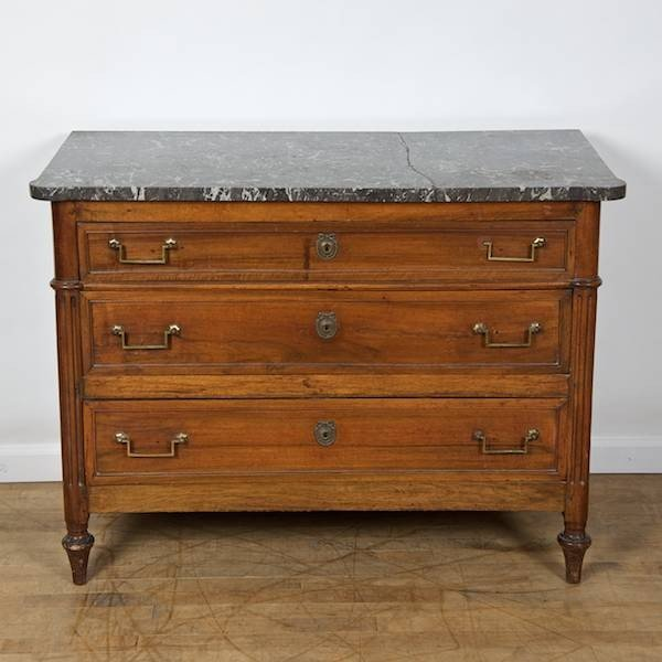3015: Louis XVI marble top mahogany commode