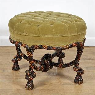 Napoleon III style painted rope-carved tabouret