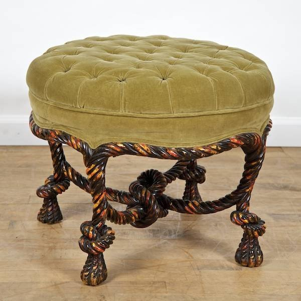 3023: Napoleon III style painted rope-carved tabouret