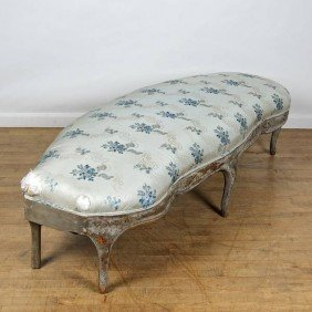 Louis XV Blue-gray Painted Curved Banquette