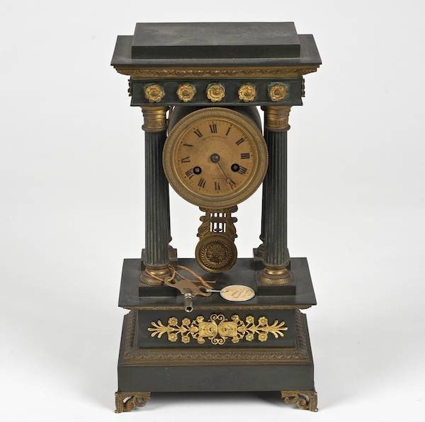 3073: Empire style bronze portico clock