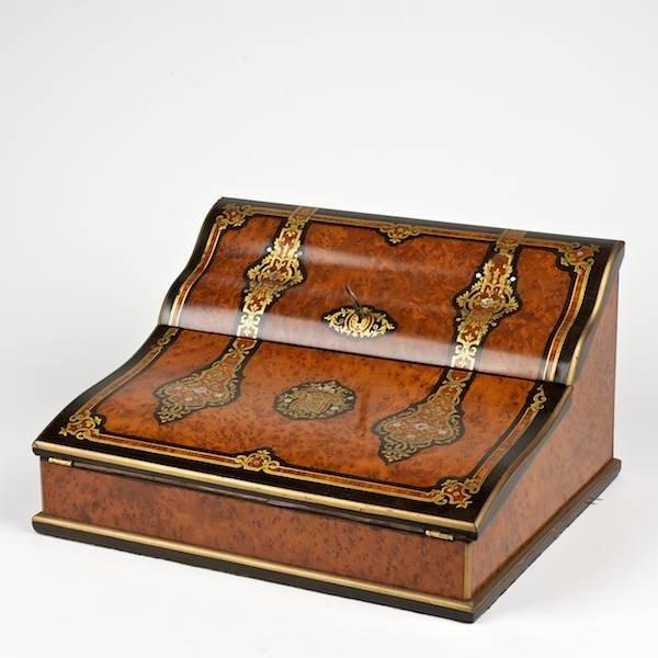 3074: Nice quality Napoleon III brass inlaid writing bo