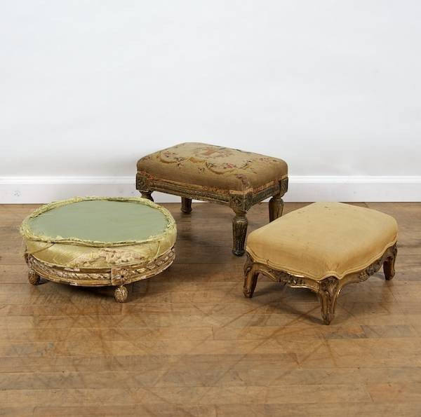 3075: (3) antique Louis XV and XVI style giltwood foot