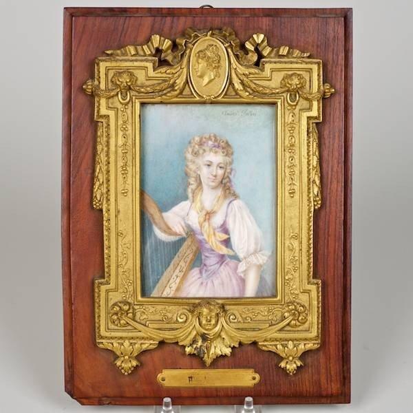 3077: Nice gilt bronze mounted portrait on ivory