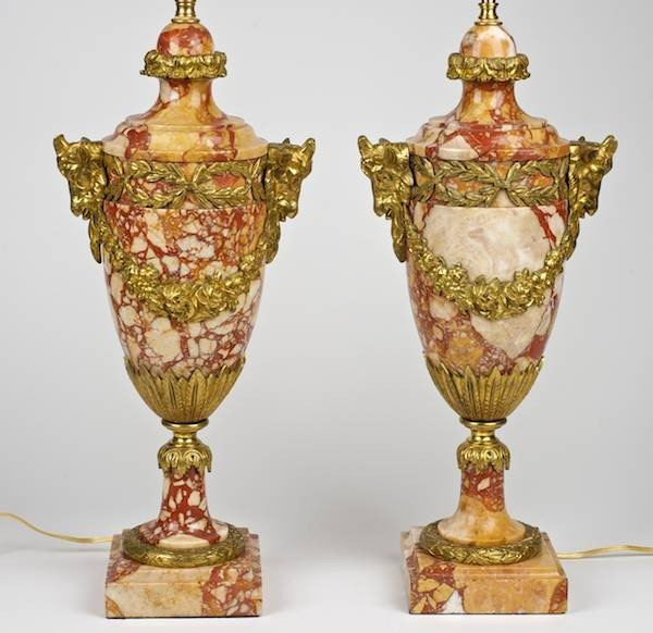 3079: Pair Louis XVI style bronze mounted marble lamps