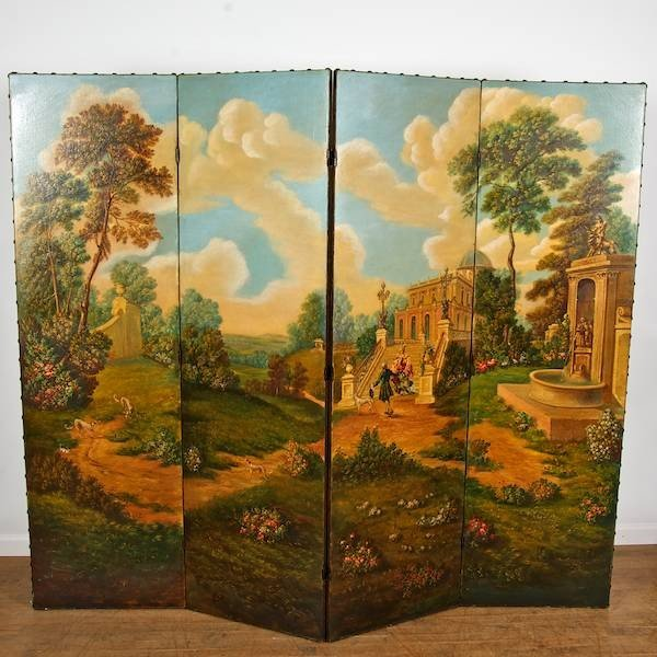 3084: French style hand-painted four-fold screen