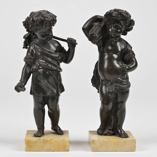 3093: Pair antique French bronze allegorical putto figu