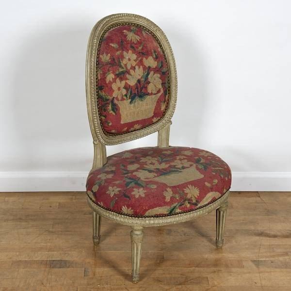 3094: Louis XVI gray painted, needlepoint boudoir chair