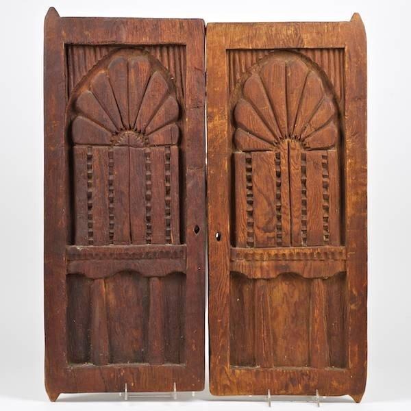 3388: Pair Spanish Colonial carved wood doors