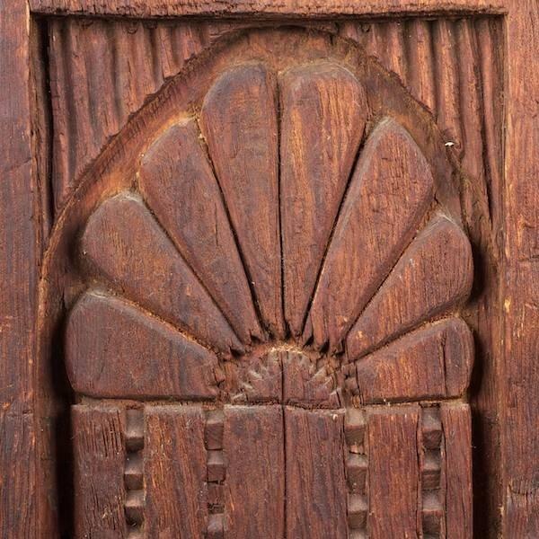 3388: Pair Spanish Colonial carved wood doors - 2