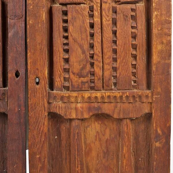 3388: Pair Spanish Colonial carved wood doors - 3
