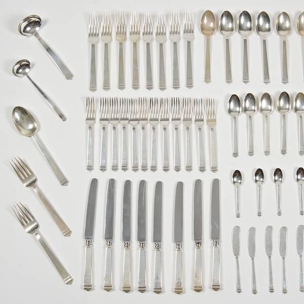 3483: Tiffany & Co. Hampton pattern silver flatware set