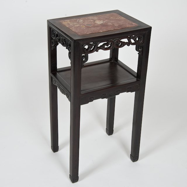 1011: Chinese Export marble inset hardwood table