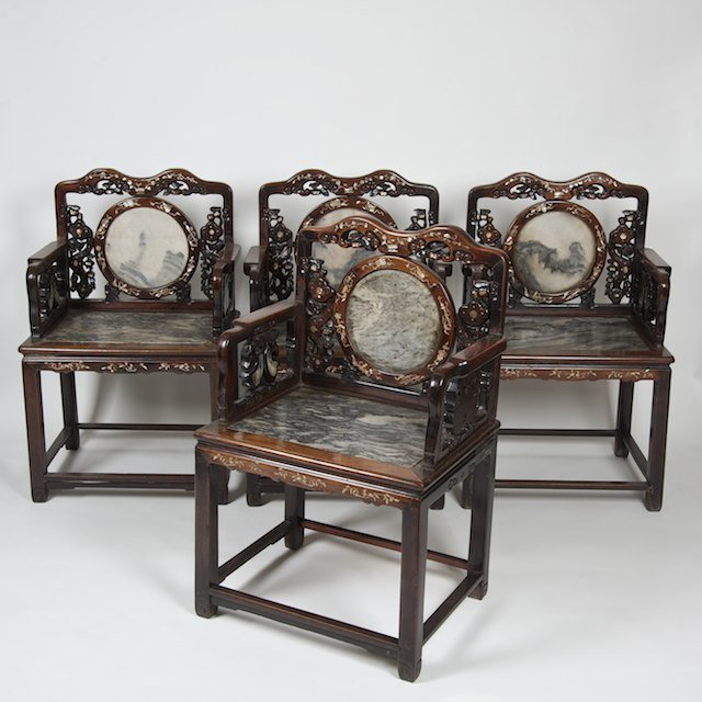 1024: (4) Chinese marble inset hardwood armchairs
