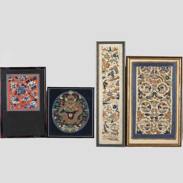 1047: Group (4) antique chinese textile fragments