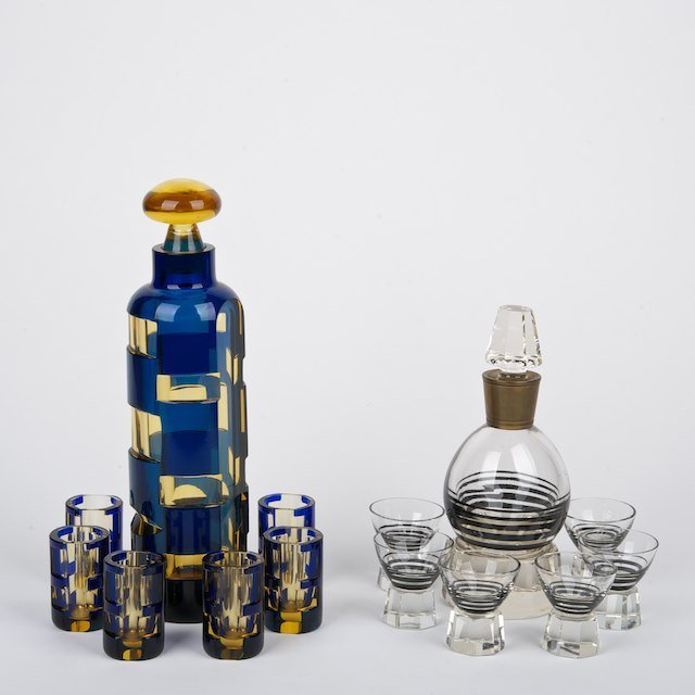 1313: (2) Art Deco cut colored glass whiskey sets