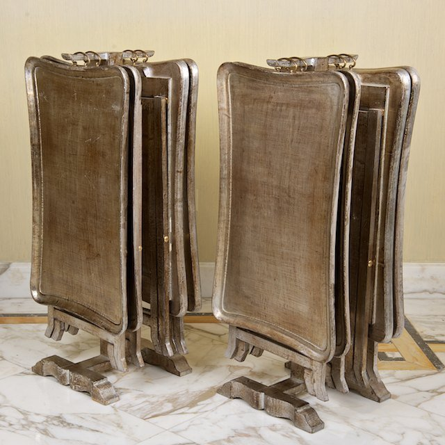 1470: (2) sets Italian silvered wood snack tables on st