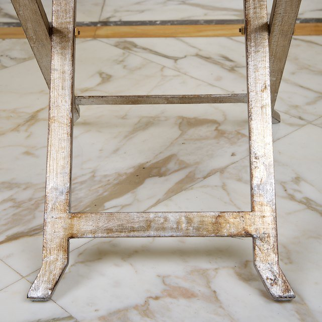 1470: (2) sets Italian silvered wood snack tables on st - 5