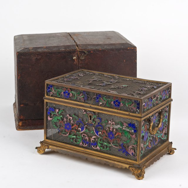 2005: Very fine Continental bronze and enamel box