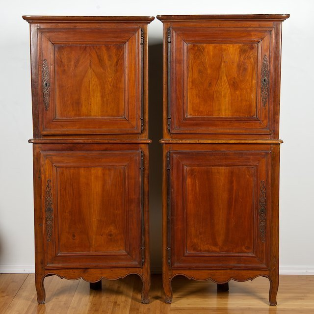 2007: Nice pair French Provincial fruitwood corner cupb