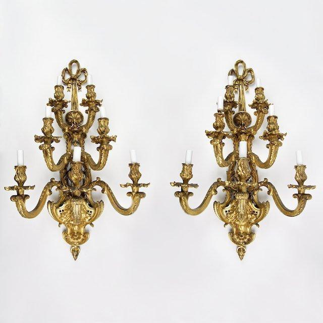2010: Nice pair antique Louis XV style bronze wall scon