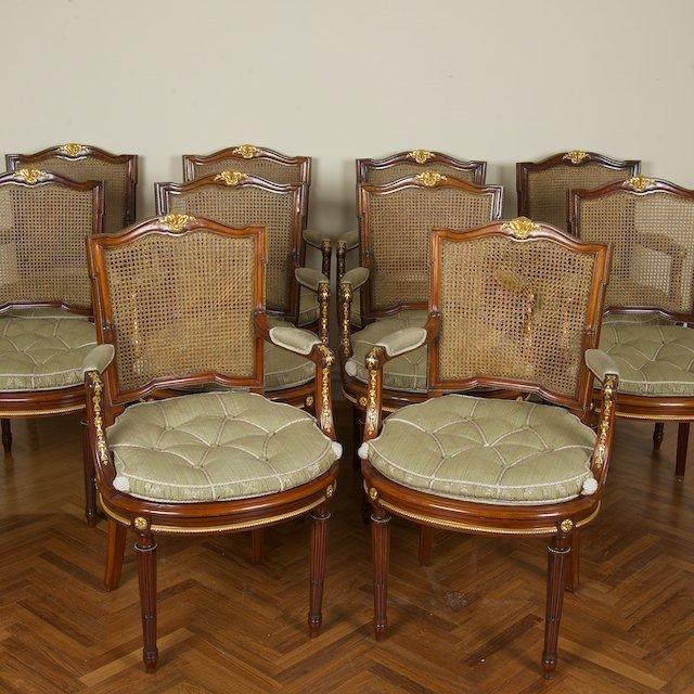 2014: Set (10) Louis XVI style bronze mounted fauteuils