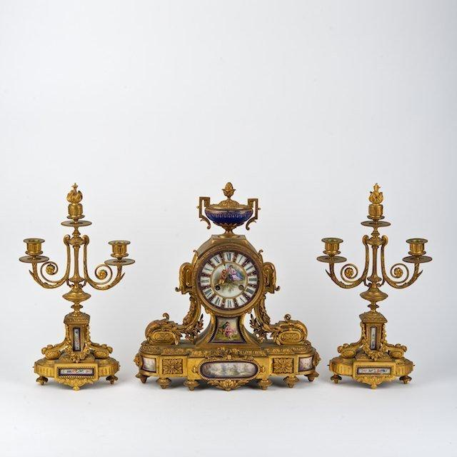 2017: Napoleon III gilt bronze and Sevres clock garnitu