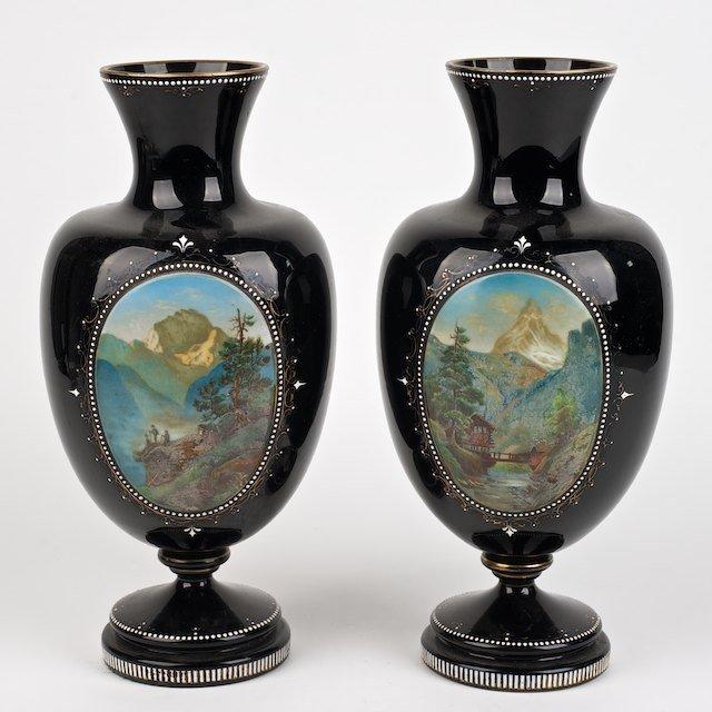 2019: Pair Victorian enameled black glass vases