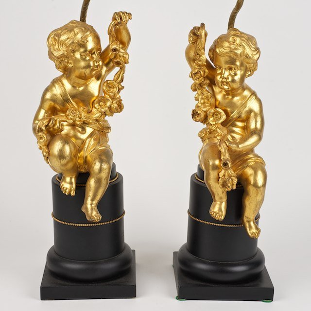 2024: Pair Napoleon III gilt bronze putto lamps