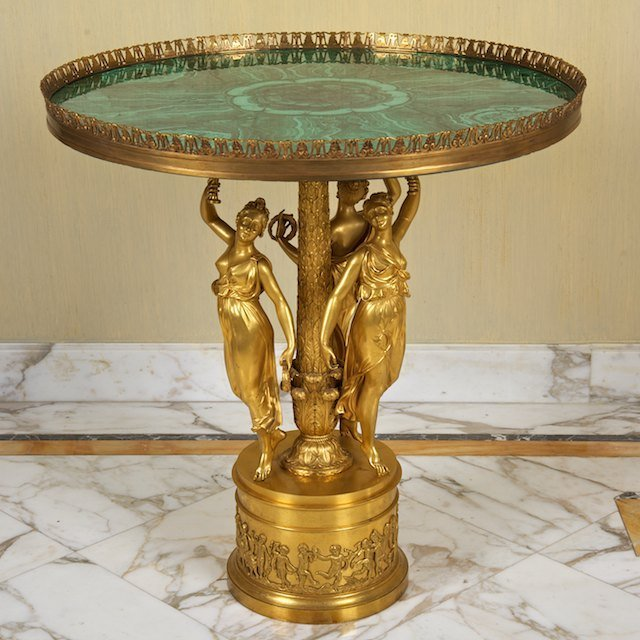 2078: Empire bronze, malachite gueridon signed Thomire