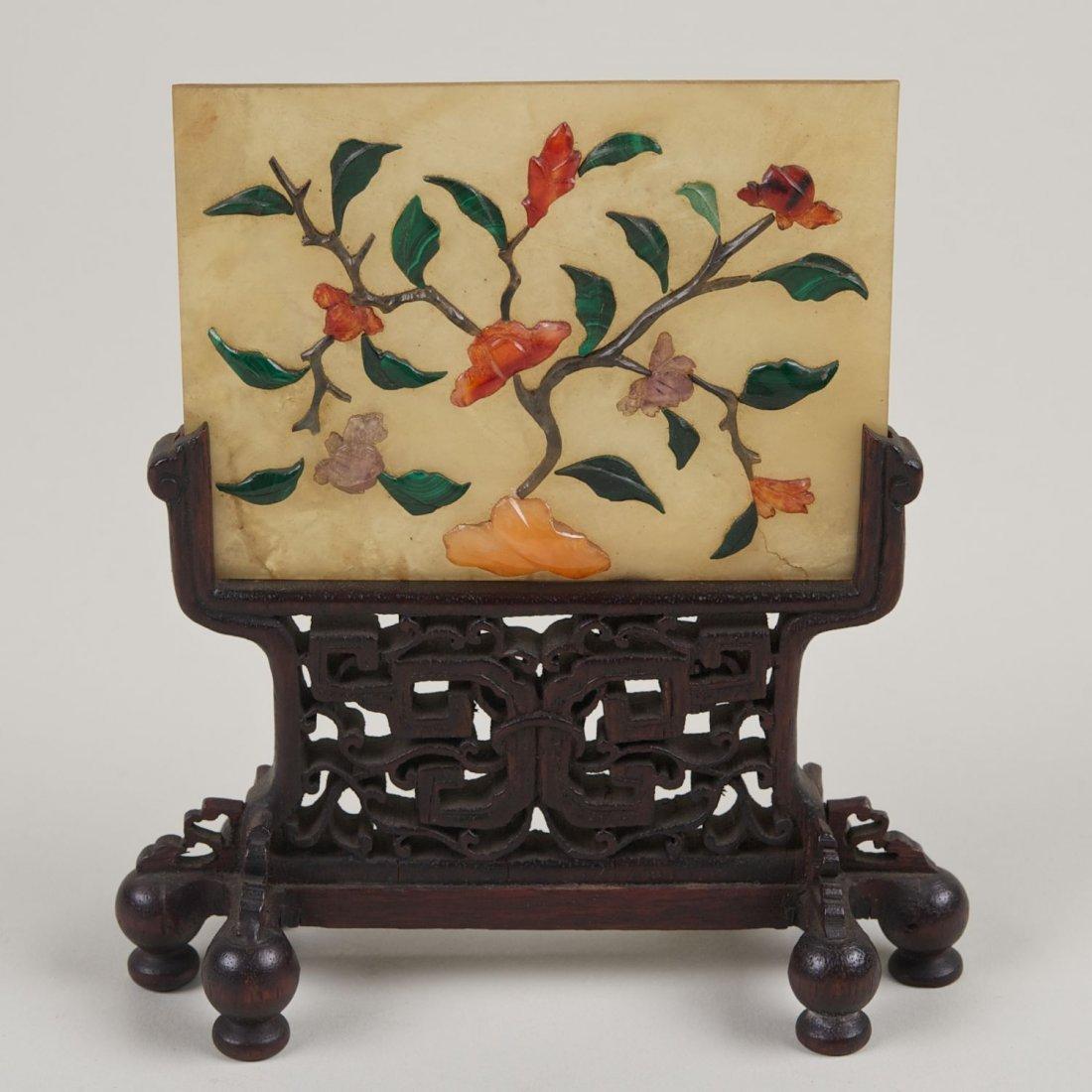 Chinese hardstone inlaid jade plaque