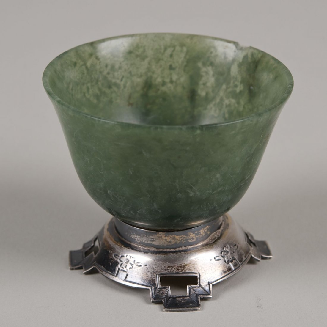 Chinese jade cup with sterling mount by Ed. Farmer