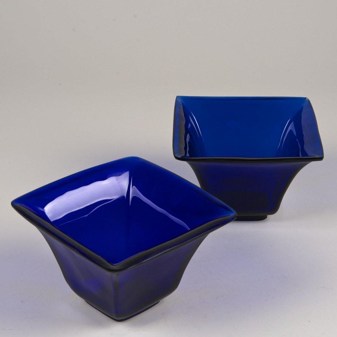 Pair Chinese blue Peking glass squared bowls