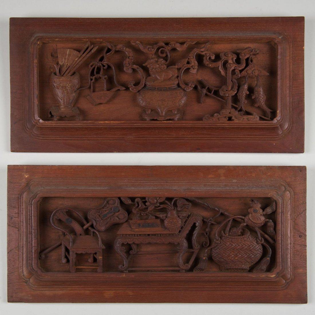 Pair Chinese carved hardwood panels