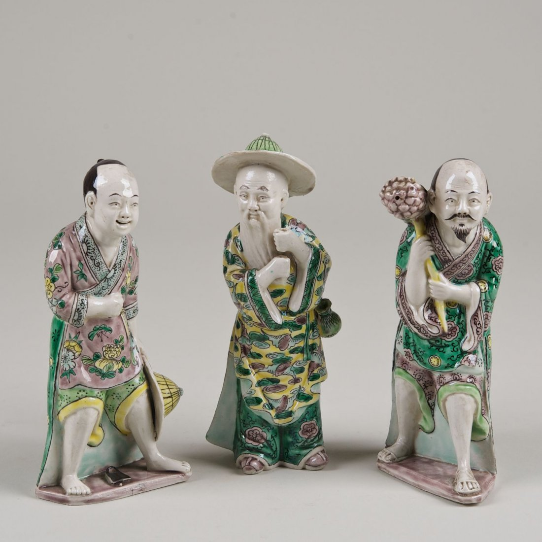 (3) Chinese sancai glazed porcelain figures