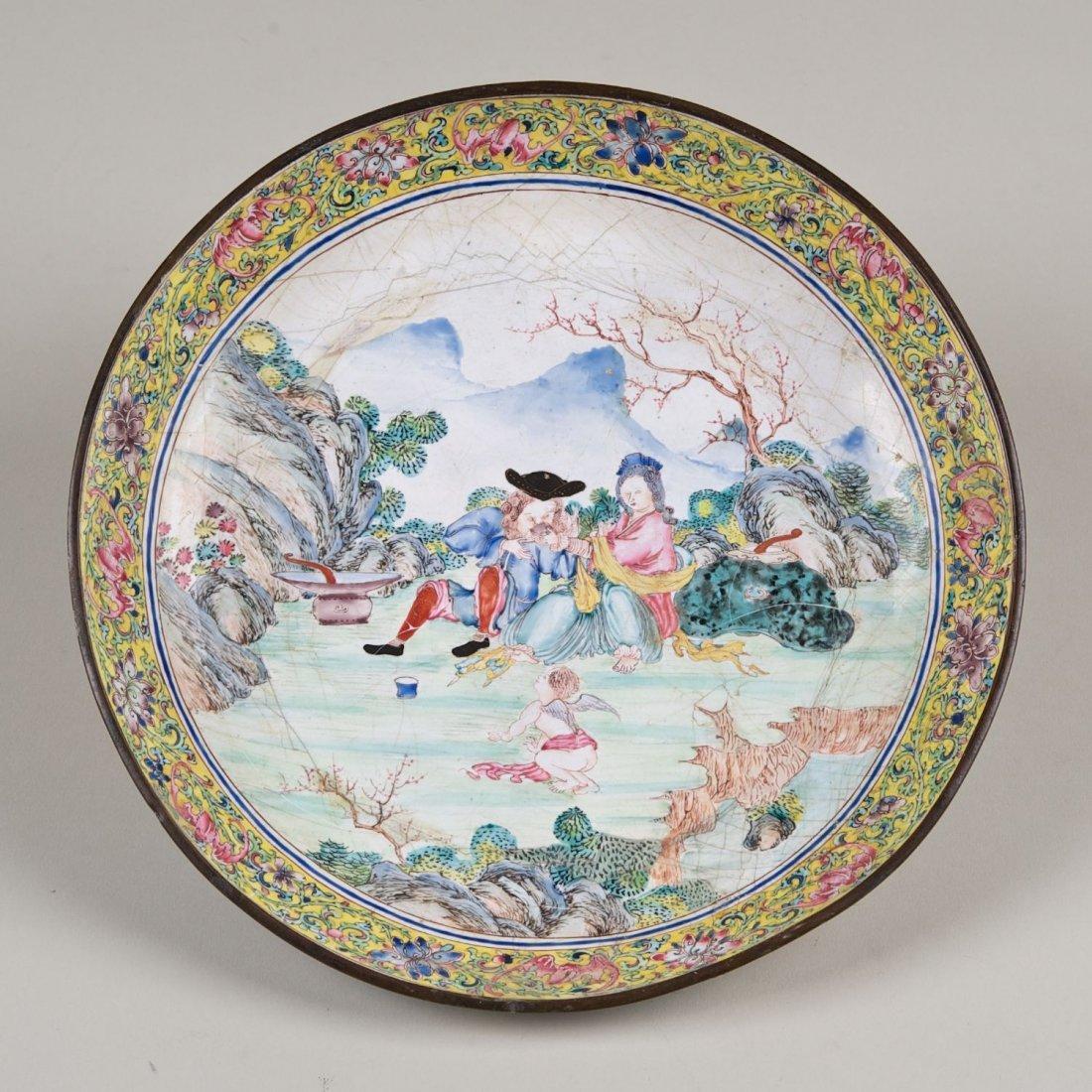 Chinese Canton enamel European subject dish