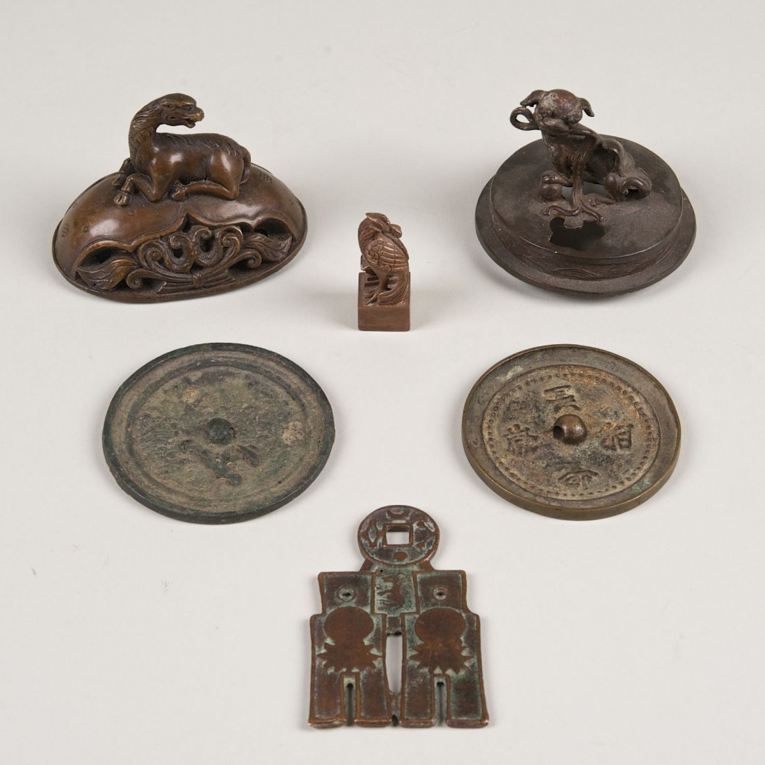 (6) Chinese ancient and patinated bronze artifacts