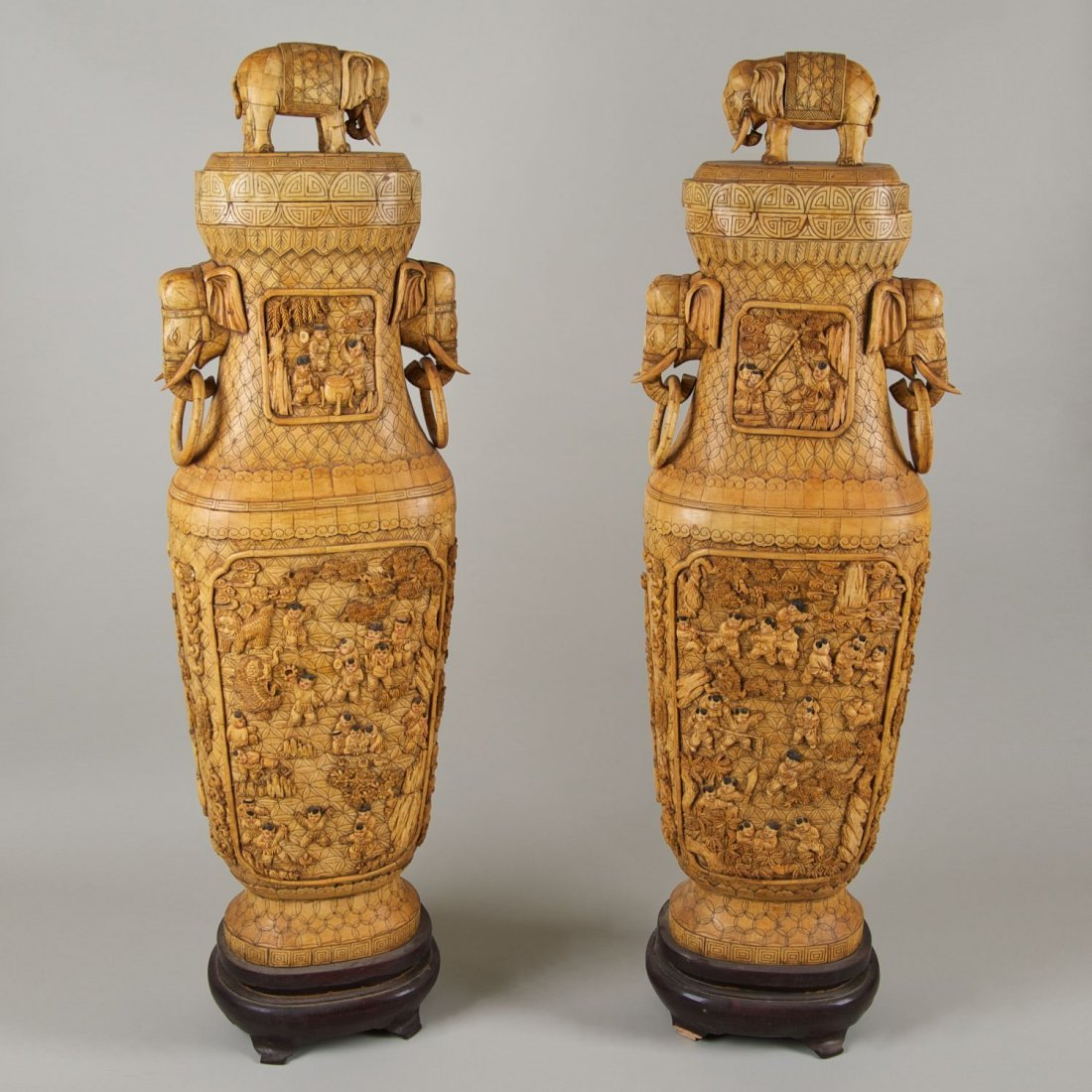 Pair Chinese carved bone floor jars and covers