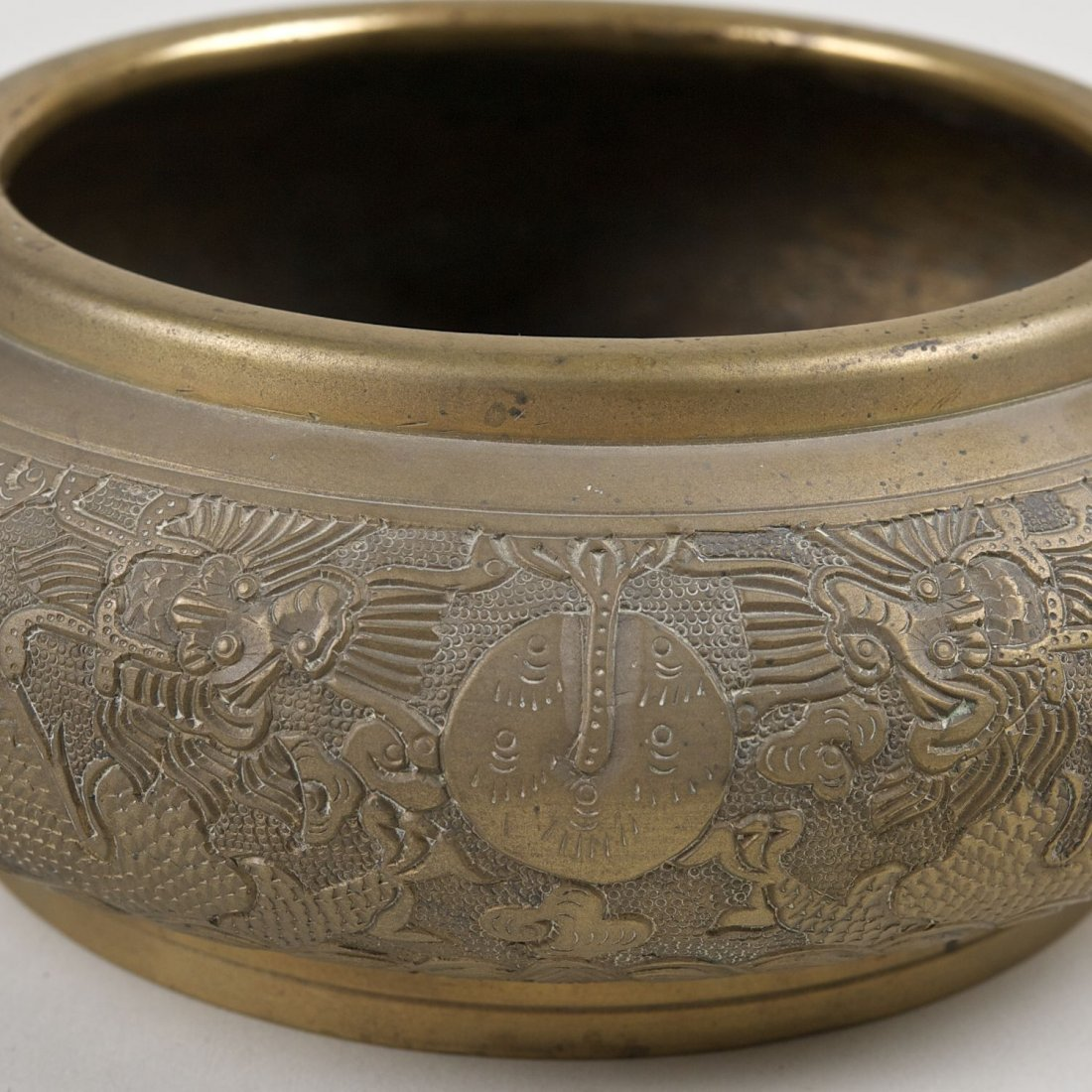 Antique Chinese brass censer with Ming marks - 2