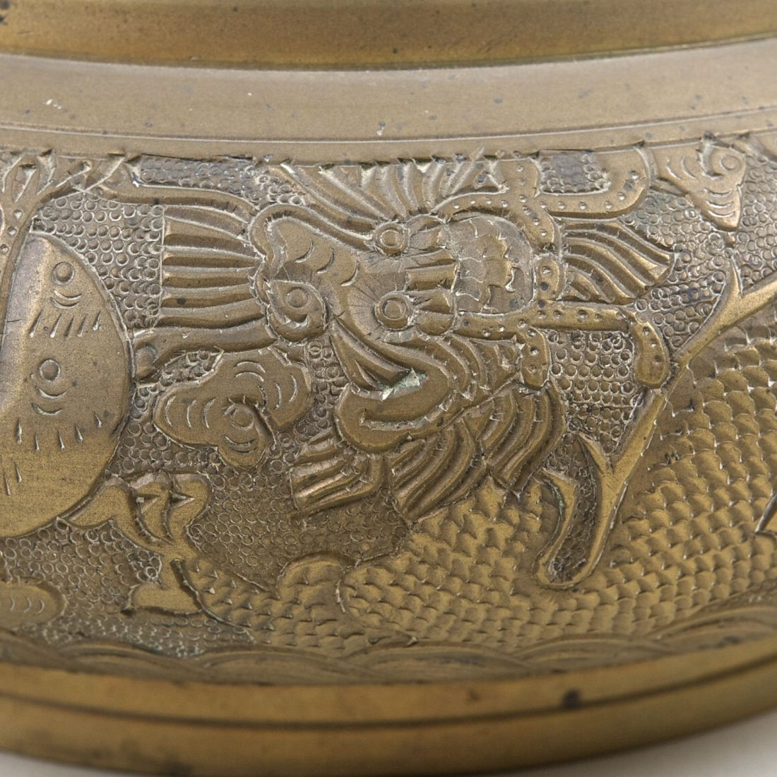 Antique Chinese brass censer with Ming marks - 3