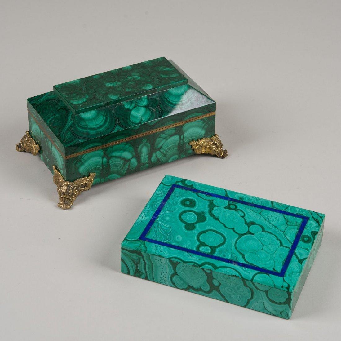 (2) contemporary malachite boxes