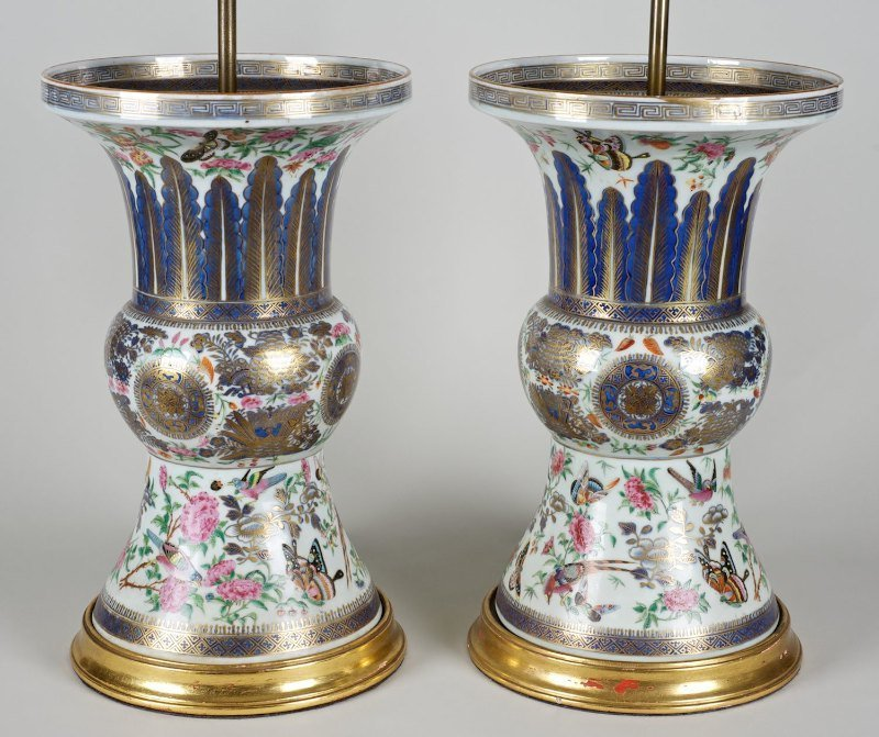 Pair Chinese Export porcelain vase/lamps