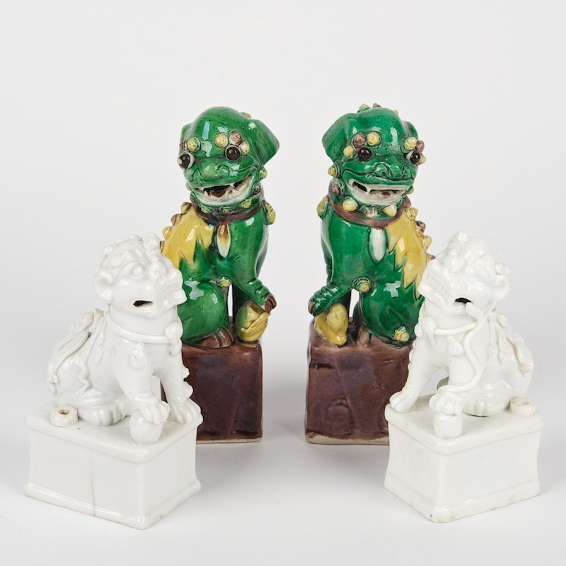 (2) pairs Chinese porcelain lion joss stick holders