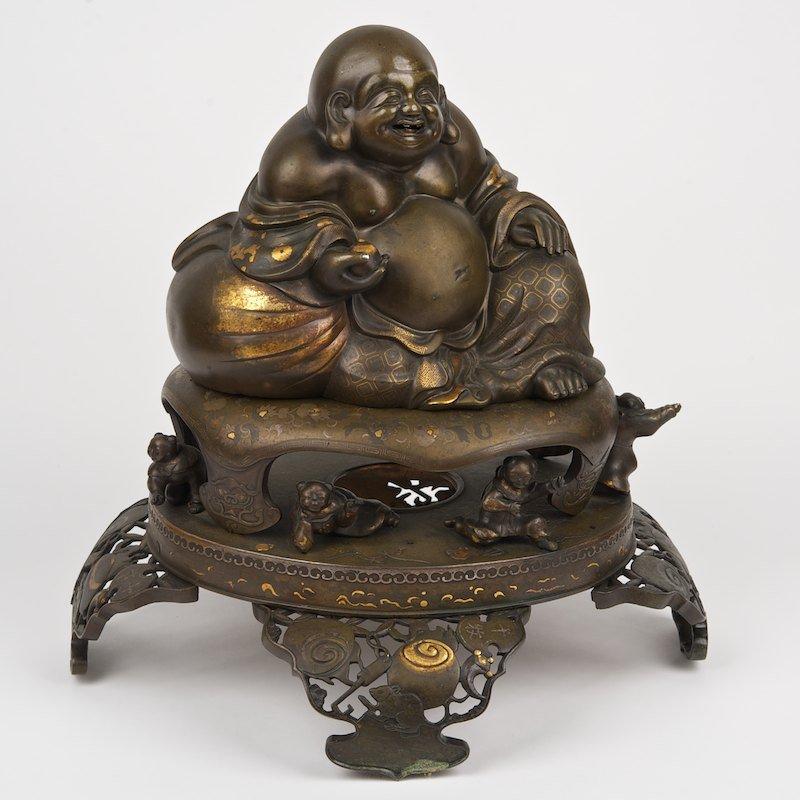 Large Japanese bronze mixed metal figure of Hotei