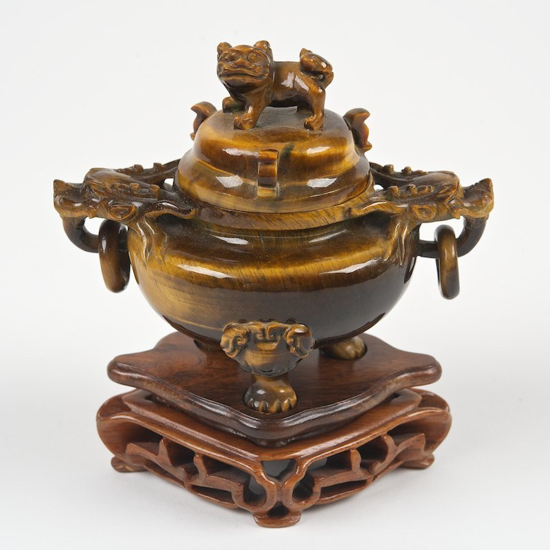 Chinese tiger's eye agate censer and cover