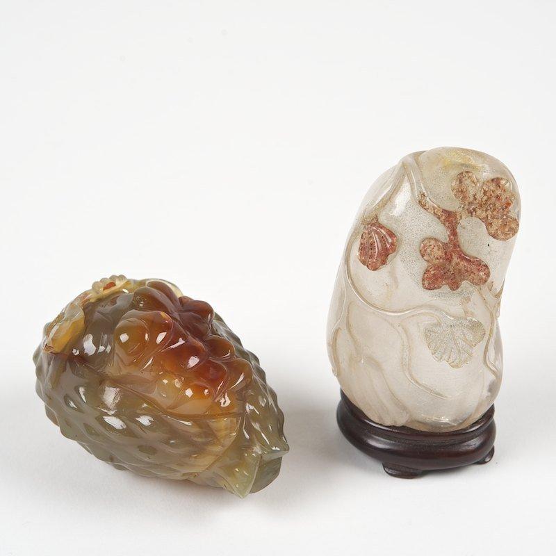 (2) Chinese gourd, fruit form hardstone snuff bottles