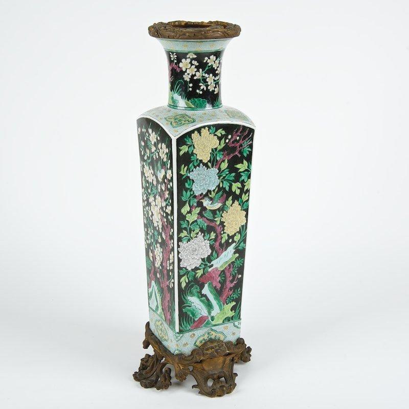 Chinese bronze mounted famille noir porcelain vase