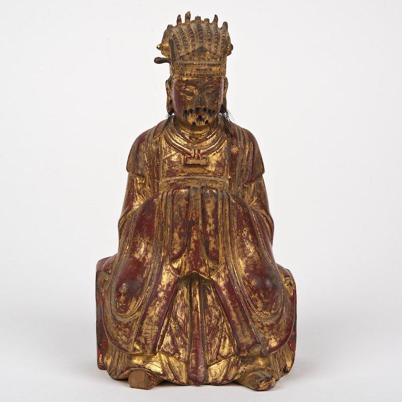 Antique Chinese giltwood figure of Confucius