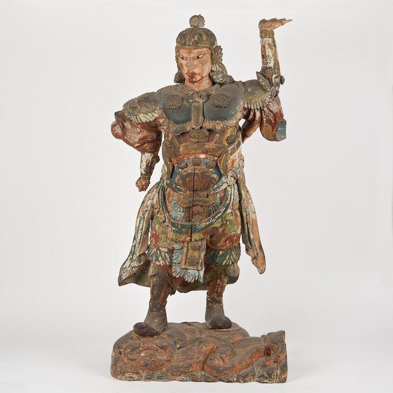 Large Japanese polychromed wood guardian figure